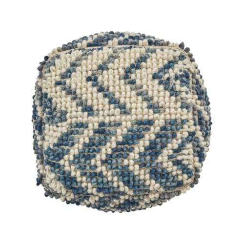 Bonnie Boho Wool and Cotton Large Ottoman Pouf Perspective: left