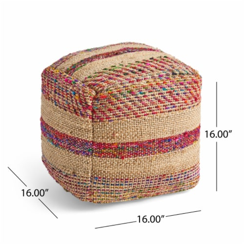 Deborah Boho Hemp Silk and Cotton Ottoman Pouf Perspective: left