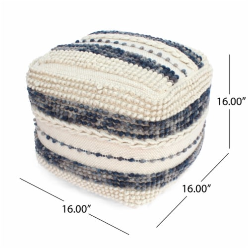 Christal Contemporary Wool and Cotton Pouf Ottoman Perspective: left