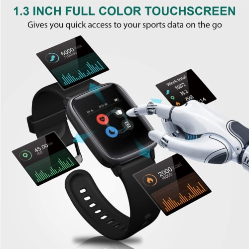 Letsfit ID205L Smartwatch Heart Rate & Activity Monitor - Black Perspective: left