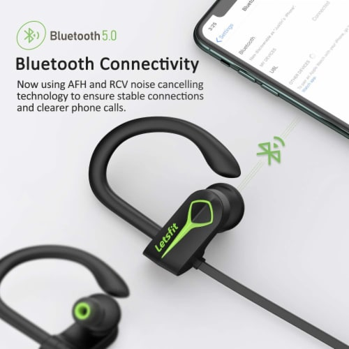 Letsfit U8L Bluetooth Headphones - Green/Black Perspective: left