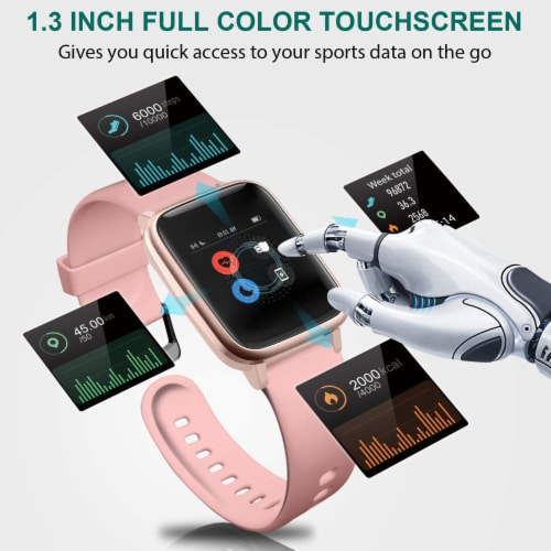 Letsfit ID205L Smartwatch Heart Rate & Activity Monitor - Pink Perspective: left