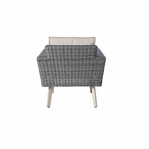 Alfresco Home Castlewood 4-piece Resin Wicker Seating Group in Stone Gray Perspective: left
