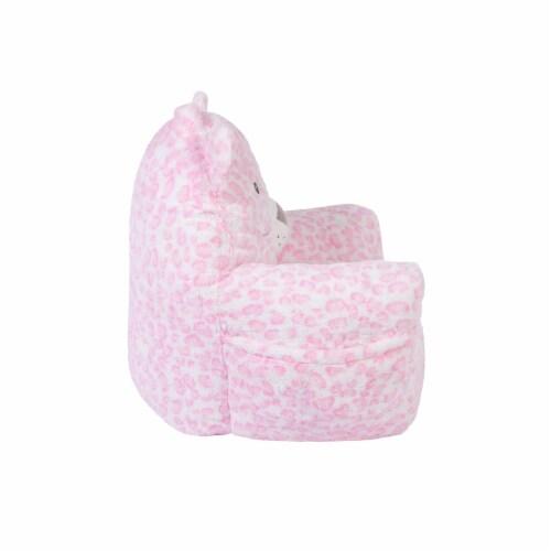 Cuddo Buddies Pink Leopard Plush Chair Perspective: left