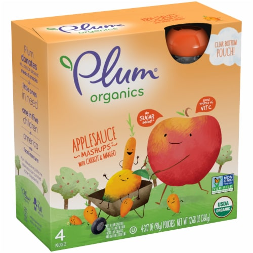 Plum Organics Applesauce Mashups with Carrot & Mango 4 Count Perspective: left