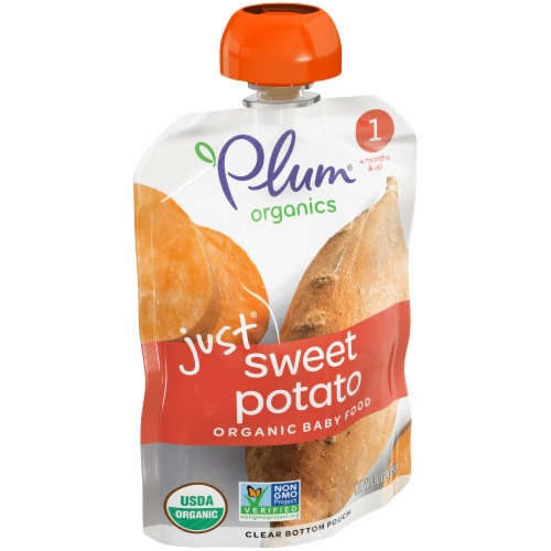 Plum Organics Stage 1 Just Sweet Potato Baby Food Perspective: left