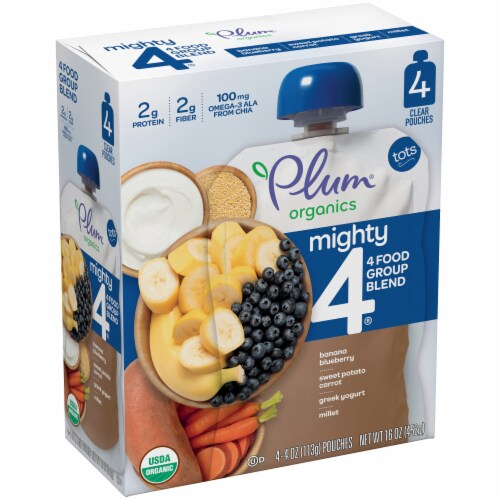 Plum Organics Mighty 4 Tots Baby Food Perspective: left
