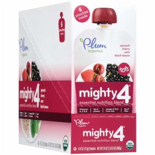 Plum Organics Mighty 4 Spinach Cherry Oats Black Beans Baby Food Pouch Perspective: left