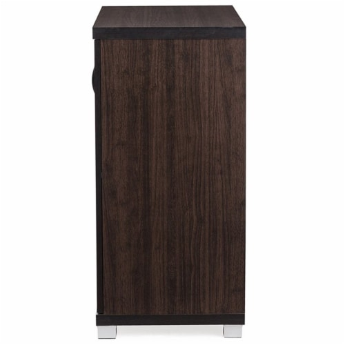Baxton Studio Zentra Curio Cabinet in Dark Brown Perspective: left