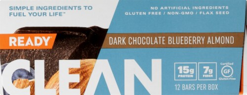 Come Ready  Clean Protein Bars- Dark Chocolate Blueberry Almond Protein Bars Perspective: left