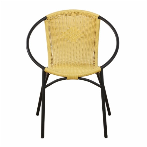 Parven All-Weather Aluminum Bistro Set with 2 Yellow Papasan Chairs and Table Perspective: left