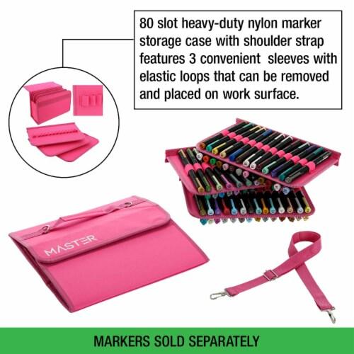 Master Marker 80 Slot Premium Nylon Marker & Lipstick Storage Case Hot Pink Perspective: left