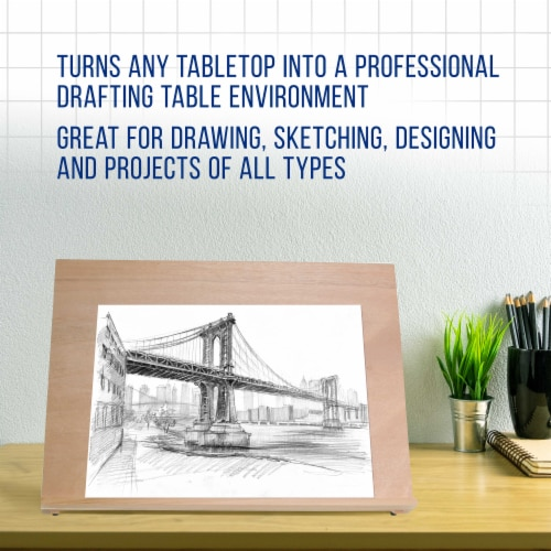 X-Large 25-5/8  Wide x 19  Tall (A2) Artist Adjustable Wood Drawing Sketching Board Perspective: left