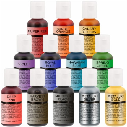 Complete Cake Decorating Airbrush Kit with a Full Selection of 12 Vivid Airbrush Food Colors Perspective: left