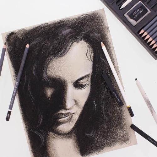 20 Piece Artist Sketch Set with Storage Case - Sketch & Charcoal Pencils, Pastel, & Stumps Perspective: left