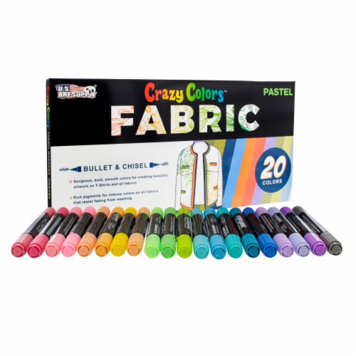 20 Pastel Colors Dual Tip Fabric & T-Shirt Marker Set - Chisel Point and Fine Point Tips Perspective: left