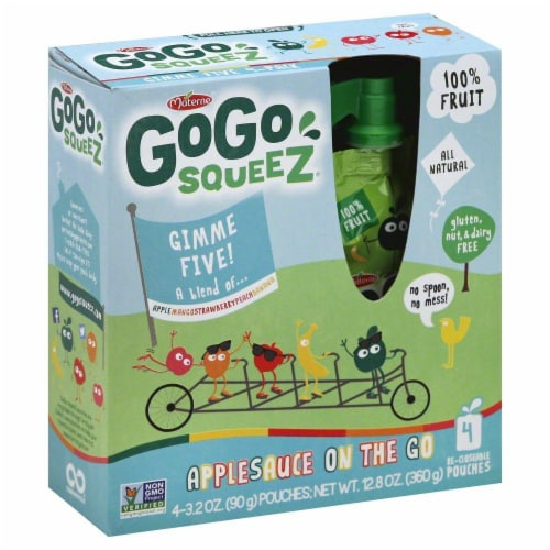 GoGo SqueeZ Gimme Five Applesauce Pouches Perspective: left