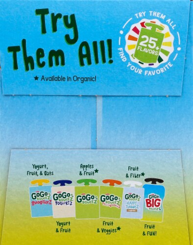 GoGo Squeez Big Squeez Playful Pear and Spunky Strawberry Applesauce Pouches Perspective: left