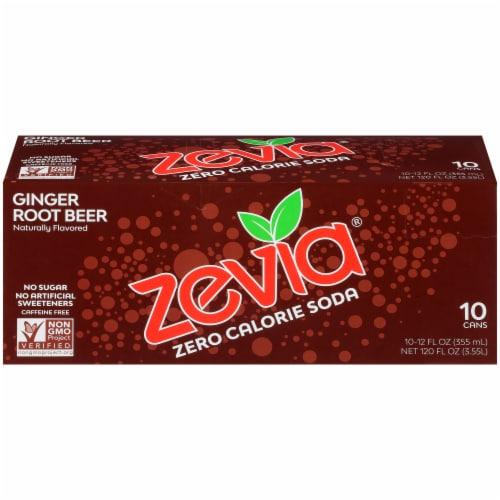 Zevia Ginger Root Beer Zero Calorie Soda Perspective: left