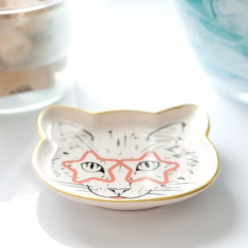 Cat Dish Plate | Small Ceramic Catchall Dish For Treats, Keys, Change, & More Perspective: left
