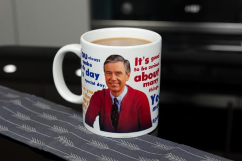 Mister Rogers Sweater Changing Mug | Sweater Changes With Heat | Holds 16 Ounces Perspective: left