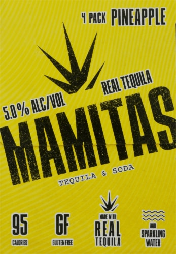 Mamitas Pineapple Tequila & Soda Sparkling Water Perspective: left