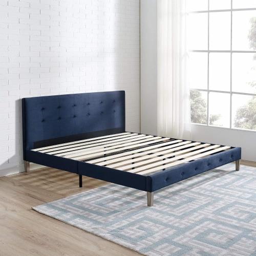 Classic Brands Seattle Tufted Platform Slat Bed Frame, Queen, Antonio Sapphire Perspective: left