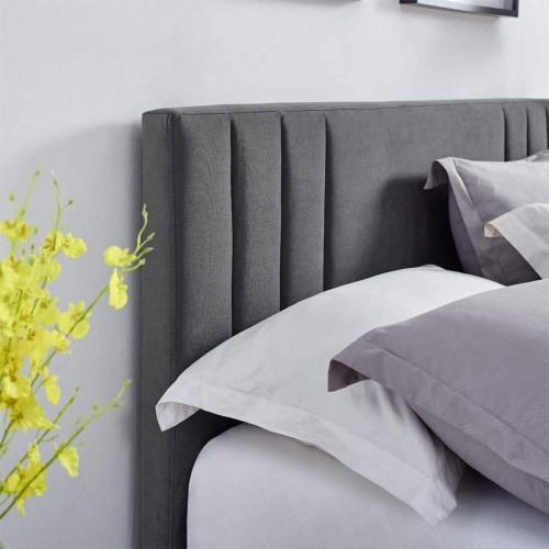 Classic Brands Chicago Tufted Upholstered Platform Bed Frame, Full, Dark Grey Perspective: left