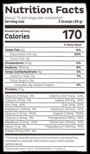 KOS Organic Chocolate Flavor Plant Protein Powder Perspective: left