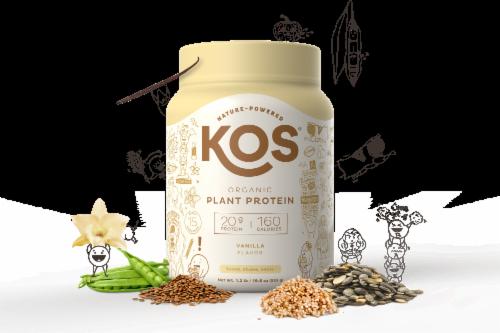 KOS Organic Vanilla Flavor Plant Protein Powder Perspective: left
