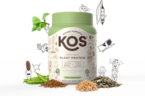 KOS Chocolate Chip Mint Flavor Plant Protein Powder Perspective: left