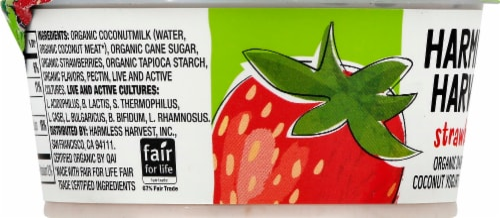 Harmless Harvest Organic Dairy-Free Strawberry Yogurt Alternative Perspective: left
