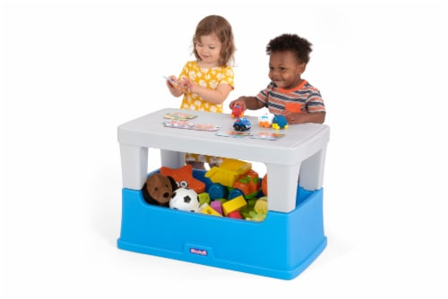 Simplay3 Play Around Storage Table - Blue/Gray Perspective: left