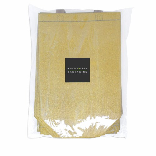 Large Gold Gift Bags with Handles, Reusable Tote, Glitter Metallic Bling Shimmer Perspective: left