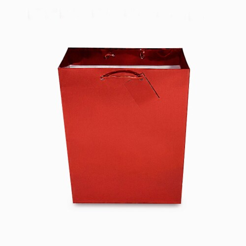 Red Foil Gift bags with Handles, Designer Solid Red Paper Gift Wrap Bags Perspective: left
