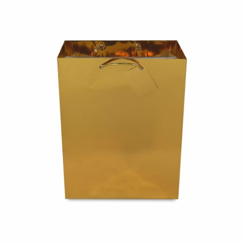 Medium Metallic Gold Paper Gift Bags with Handles & Hangtag, Premium Quality Party Favor Bags Perspective: left