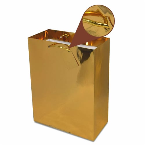Gold Foil Gift bags with Handles, Designer Solid Gold Paper Gift Wrap Bag Perspective: left
