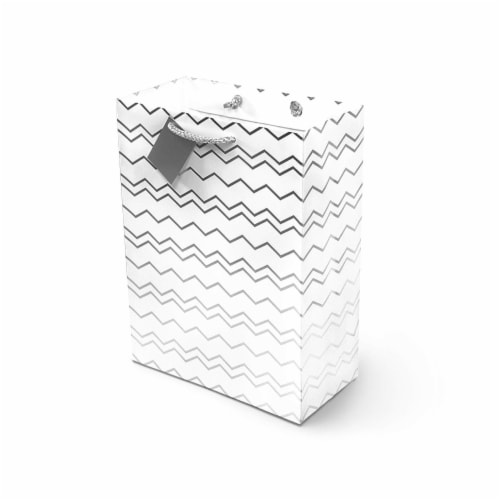 """Large Metallic Silver Paper Gift Bags with Handles - 10x13x5"""" 12 Perspective: left"""