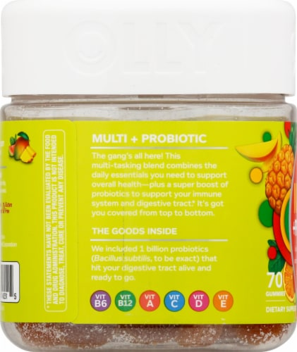 Olly Adult Multi + Probiotic Tropical Twist Gummies Perspective: left