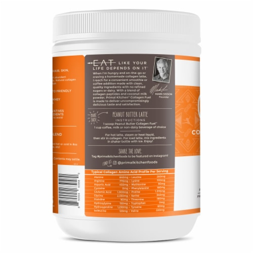 Primal Kitchen Collagen Fuel Peanut Butter Collagen Peptide Drink Mix Perspective: left