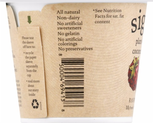 Siggi's Raspberry Plant Based Coconut Blend Yogurt Perspective: left
