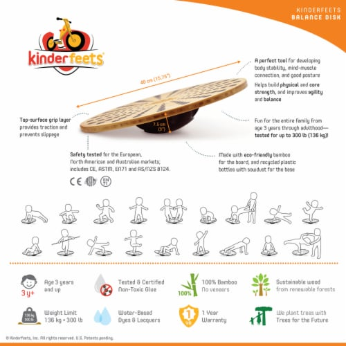 Kinderfeets 3631 Bamboo Balance Board Disk for Toddlers, Kids, Teens, and Adults Perspective: left