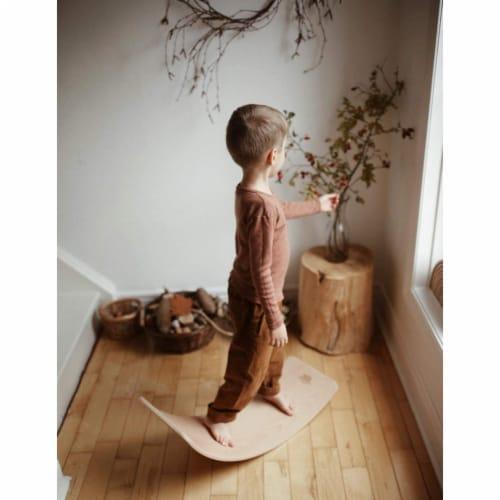 Kinderfeets Kinderboard LITE Natural Beechwood Rocking Curved Balance Board Perspective: left