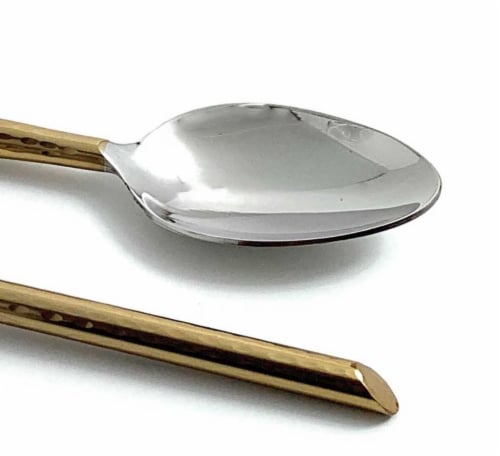 Vibhsa Golden Cut Hammered Tablespoons Perspective: left