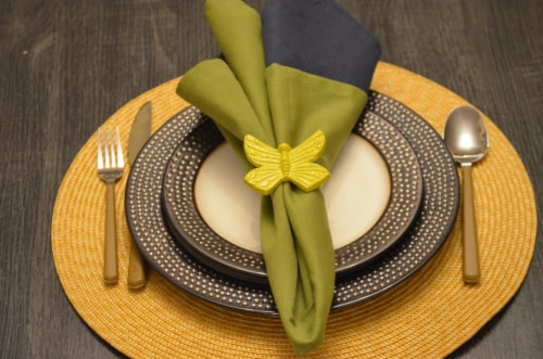 Vibhsa Butterfly Napkin Rings - Yellow Perspective: left