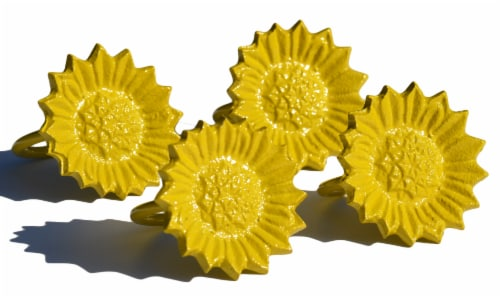 Vibhsa Sunflower Napkin Rings 4 Pack - Yellow Perspective: left