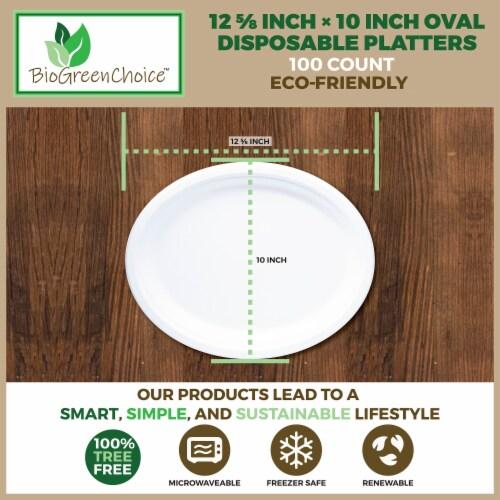 "12 5/8"" x 10"" Eco-Friendly Disposable Platter (100 Count) Perspective: left"