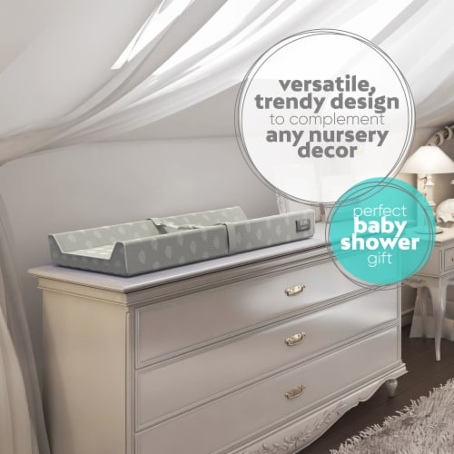 Jool Baby Contoured Changing Pad - Includes a Cozy & Washable Bamboo Fiber Mattress Cover Perspective: left