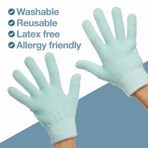 ZenToes Moisturizing Gloves - Dry, Cracked Skin Healing Treatment - 1 Pair (Fuzzy Mint Green) Perspective: left