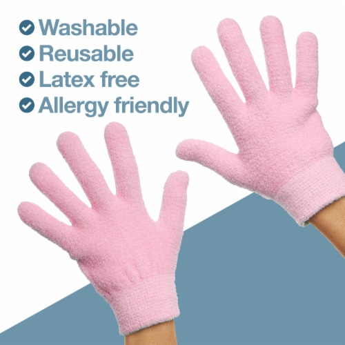ZenToes Moisturizing Gloves - Dry, Cracked Skin Healing Treatment - 1 Pair (Fuzzy Pink) Perspective: left